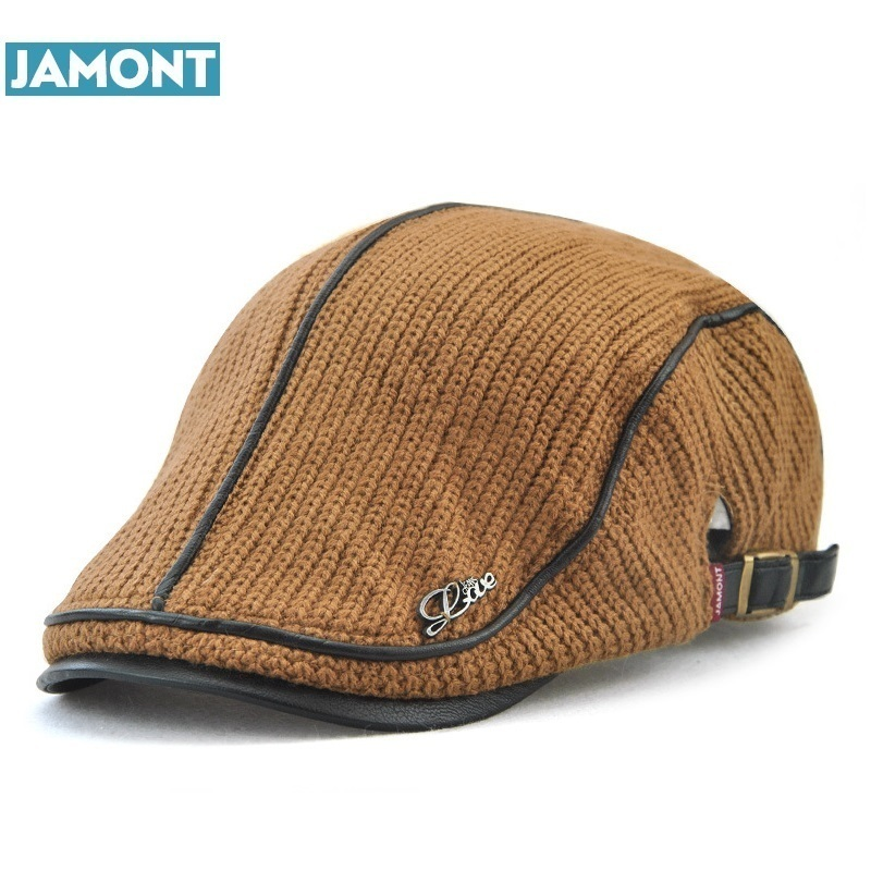 c7a85b1486f3c JAMONT Autumn Winter Crochet Beret Buckle Hat For Men Women Military Visors  Thicken Leisure Wool Warmer