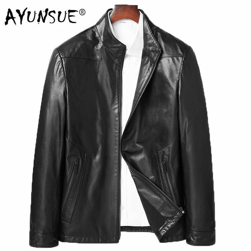 AYUNSUE Men's Leather Jacket Real Sheepskin Leather Coat Motorcycle Genuine Leather Slim Jackets Men Fashion 81Y8258 YY258