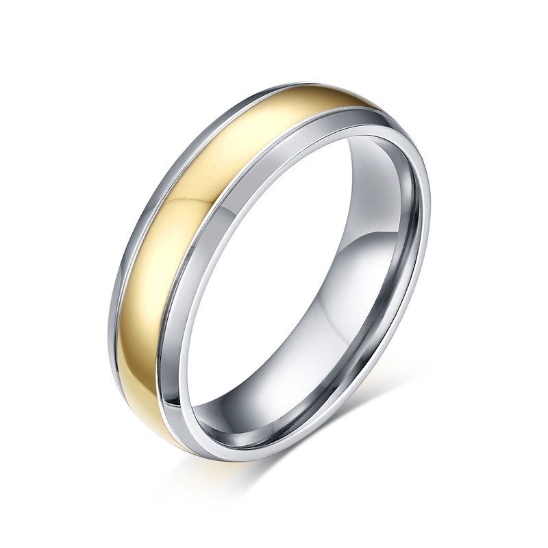 Two Tone Titanium Ring Newport Wedding Engagement Anniversary Band for Men Women Friendship Jewelry