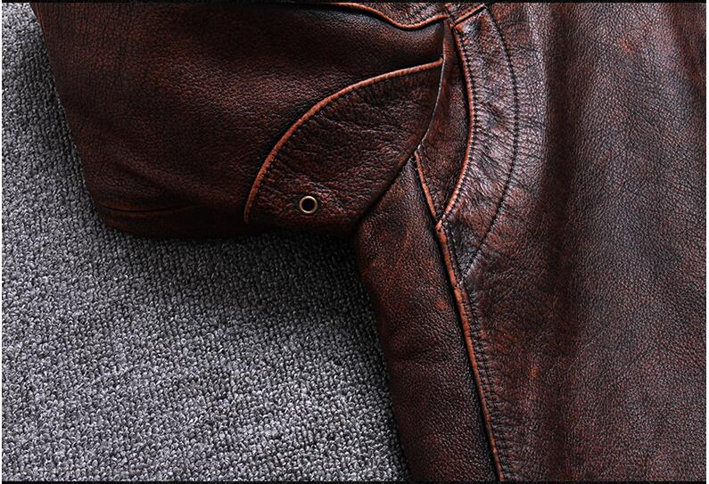 HTB1XmIAPcfpK1RjSZFOq6y6nFXaq 2019 Vintage Brown Men Smart Casual Leather Jacket Single Breasted Plus Size XXXL Genuine Cowhide Russian Coat FREE SHIPPING