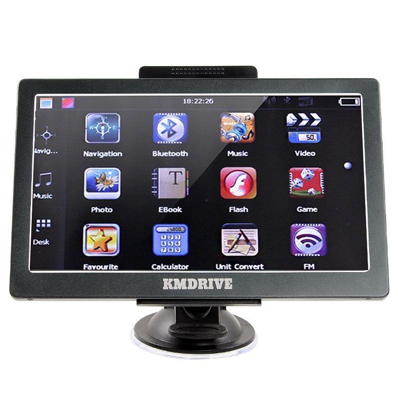 KMDRIVE 7 inch Capacitive Touch Car Truck GPS Navigation Sat Nav AV IN Bluetooth 256 RAM
