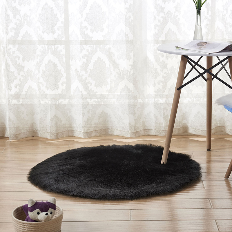 Soft Faux Fur Rug Household Bedroom Round Warm Mat Sofa Chair Desk Pad Carpets