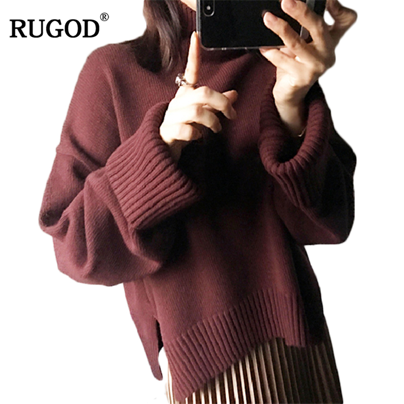 RUGOD 2018 Winter Turtleneck Christmas Sweater Long Sleeve Loose Women Sweaters And Pullovers Casual Solid Pull Femme