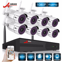 ANRAN Surveillance Security CCTV System P2P HD 8CH WIFI NVR Day Night Outdoor Waterproof 36 IR