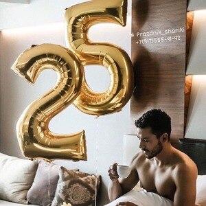 Image 2 - 2pcs 30/40 אינץ עלה זהב מספר רדיד הליום בלוני Congratulate18 20 25 30 50 שנים למבוגרים מסיבת יום הולדת עיצוב הבית