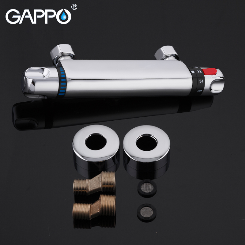 GAPPO Thermostatic Bath Shower Control Valve Bottom Faucet Wall Mounted Hot And Cold Brass Bathroom GAPPO Thermostatic Bath Shower Control Valve Bottom Faucet Wall Mounted Hot And Cold Brass Bathroom Mixer Bathtub Tap