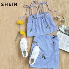 Шеин Для женщин комплект из двух предметов летний топ и юбка комплект синий с завязкой вышитые полосатый топ на бретельках и юбка co-ord