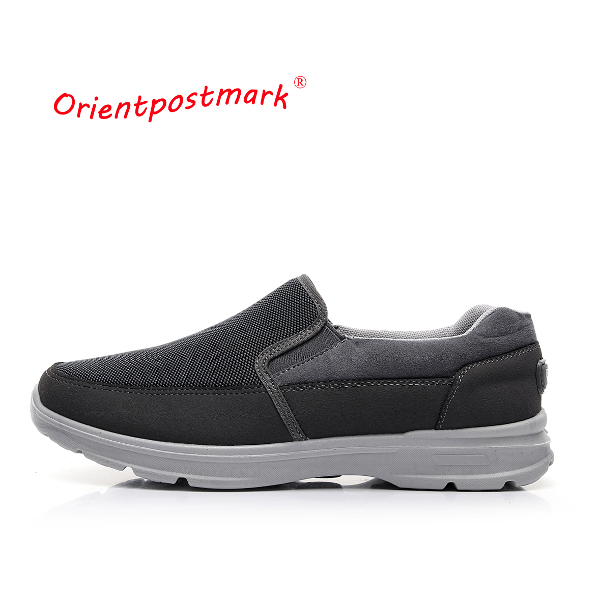 OrientPostMark Mens Shoes Seniors Casual Shoes Elderly Walking Flat Shoes Soft Comfortable Loose Driving Shoes Canvas Breathable
