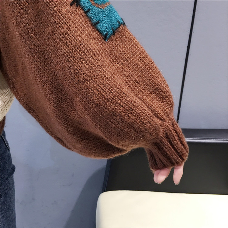 Women Elbow Patch Sweater Loose Stitch Ugly large Size Knitted Oversized Sweater Korean Style Knit Female Sweater Swetry Damskie