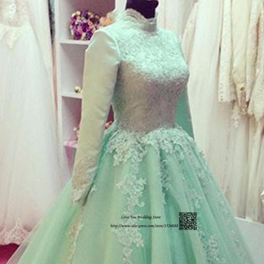 Mint Green Arab Muslim Wedding Dress Long Sleeve Lace Bride Dresses ...