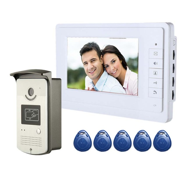 YobangSecurity Cable Video Door Phone Intercom 7 Inch LCD Video Intercom Radio Frequency Access Control Camera Monitor System