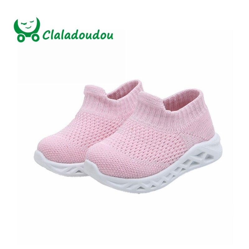 Claladoudou 12-14 CM bébé mode chaussures tisser respirant noir baskets bambin filles garçons lumière course chaussures infantile doux chaussure