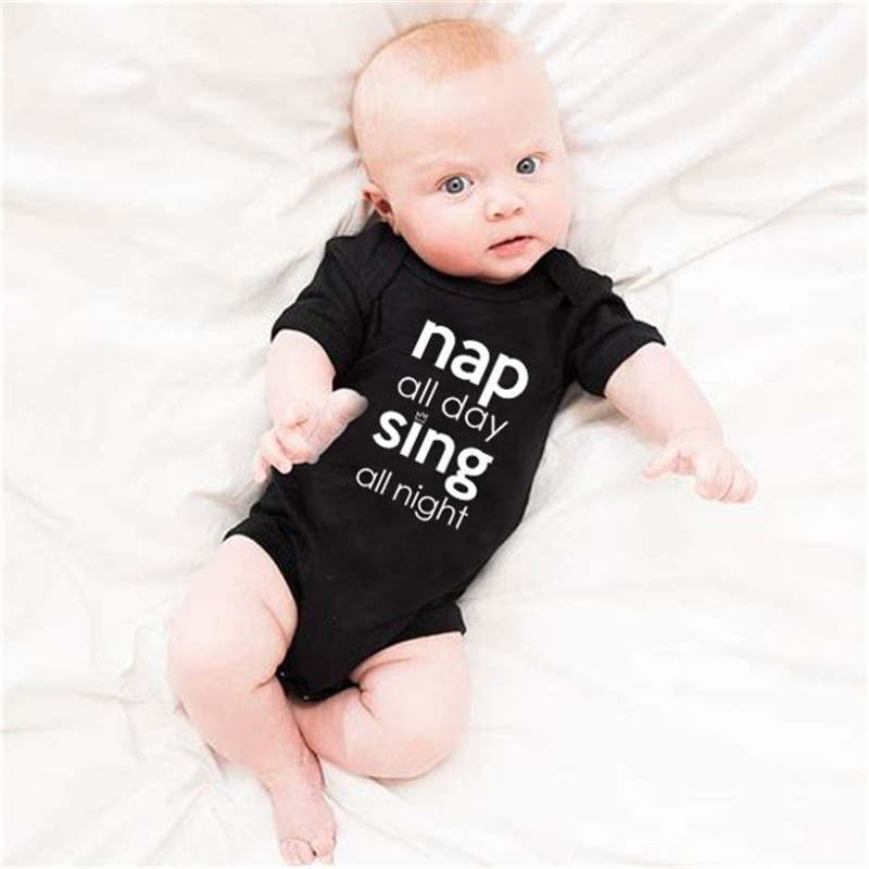 HY0072 Hipster Baby Black and White Words Bodysuit Funny Unisex Baby Onesie