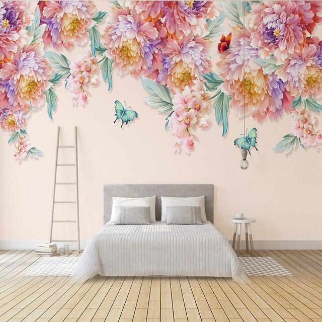 Custom 3d mural papel pintado moderno pintado a mano rosa fresca mariposa sal n tv pared del - Papel pintado a mano ...