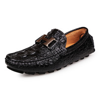 Men Brand Genuine Leather Driving Shoes Crocodile Loafers Shoes Moccasins Casual Shoes Black Brown Boat Shoes