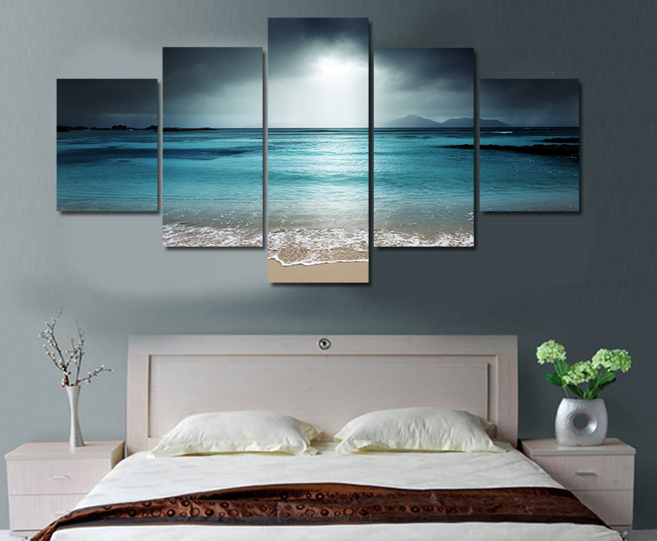 5 panels fashion beach ocean sea sunset paintings wall art for Artwork for wall decoration