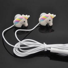 3.5mm Cartoon Earphones Cute Horse In-ear Earphone Earbud With Mic Mini Earphone For Samung Iphone Smartphone Gift For Kid Child