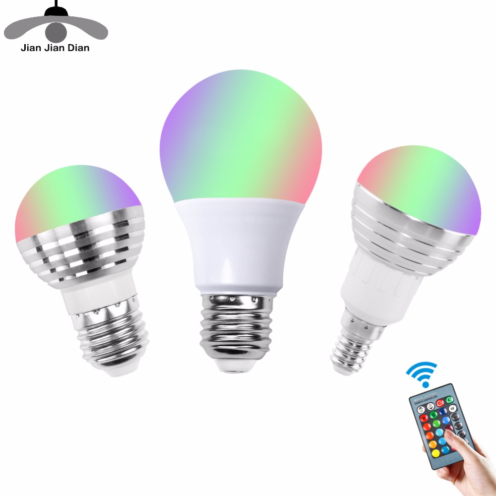 E27 E14 RGB LED Bulb Lamp 3W 5W 10W Color Magic Spot Light 24key Remote Control Dimmable LED Night Light 110V 220V Holiday agm rgb led bulb lamp night light 3w 10w e27 luminaria dimmer 16 colors changeable 24 keys remote for home holiday decoration