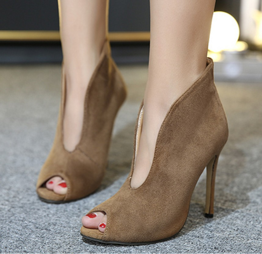 Free shipping 2016 new peep toe hollow font b women s b font high heeled bare