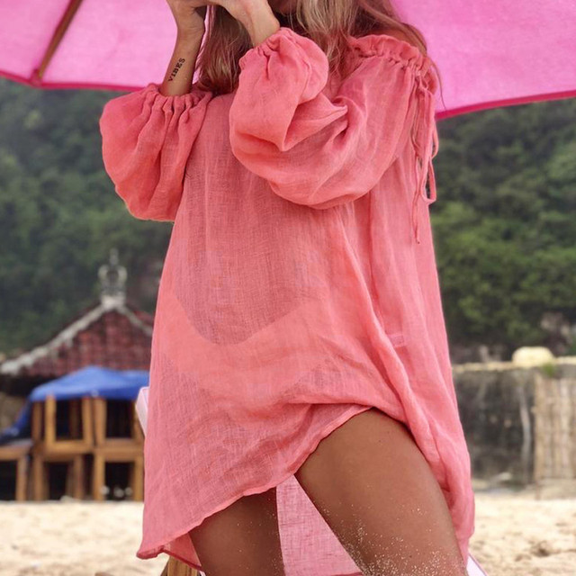 Sexy Summer Casual Solid Beach Dress Women Bikini Cover Up Swimwear Kaftan Beach Wear Off Shoulder Blouse Pareo Saida De Praia 4