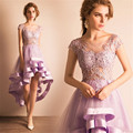 Romantic Light Purple Cocktail Dresses Scoop A-Line Asymmetrical Homecoming Dress Cap Sleeve Ruched Prom Dresses Online