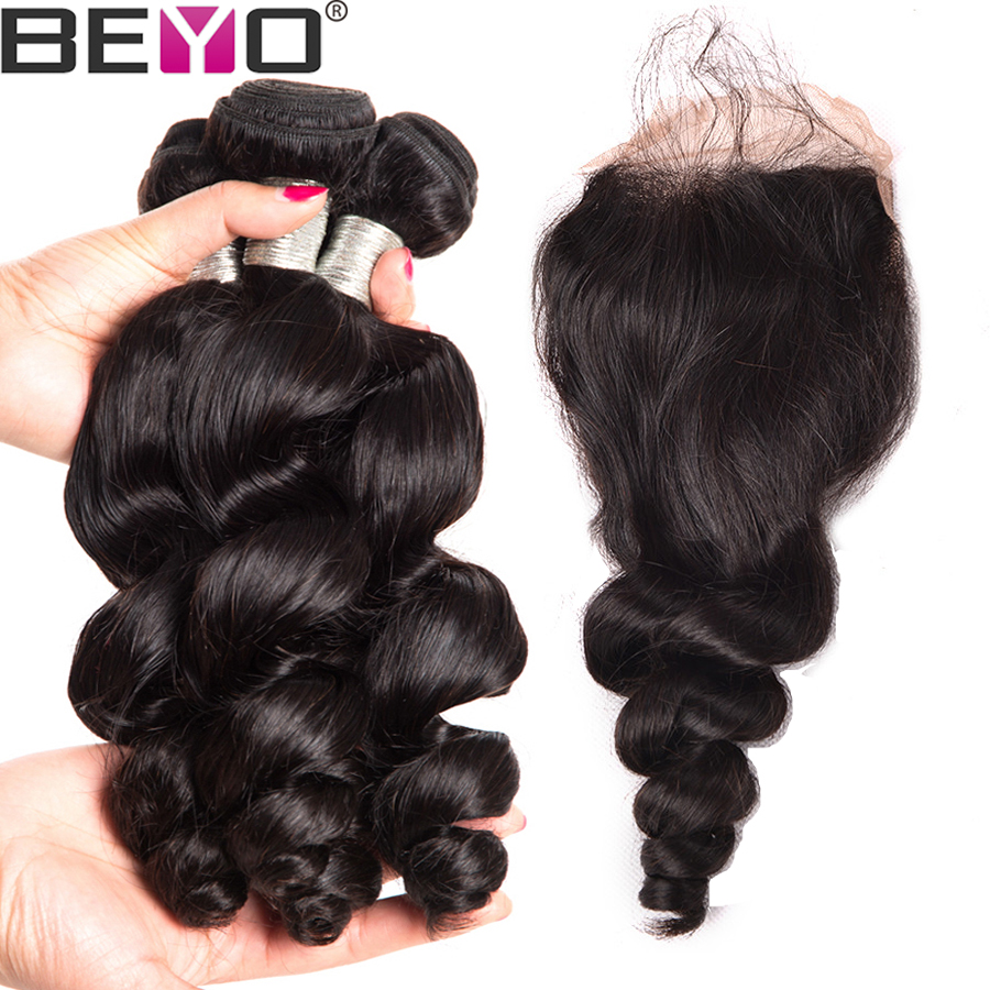 Beyo Loose Wave Bundles With Closure Malaysian Hair Bundles With Closure Human Hair Bundles With Closure
