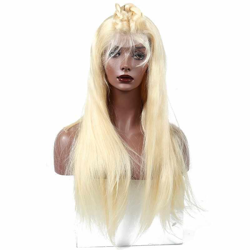 613 блонд кружевной передний парик их натуральных волос парики для женщин прямые 150% предварительно сорванные полный конец 360 кружева фронта al парик с волосами младенца Remy