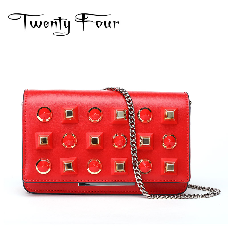 Twenty-four Genuine Leather Female Shoulder Bags Fashion Style Chain Bags With Rivets For Young Girl Small lovely Handy Flap Bag twenty four women brand flap bags natural genuine leather handbags with chain solid color cover small bags young cross body bags
