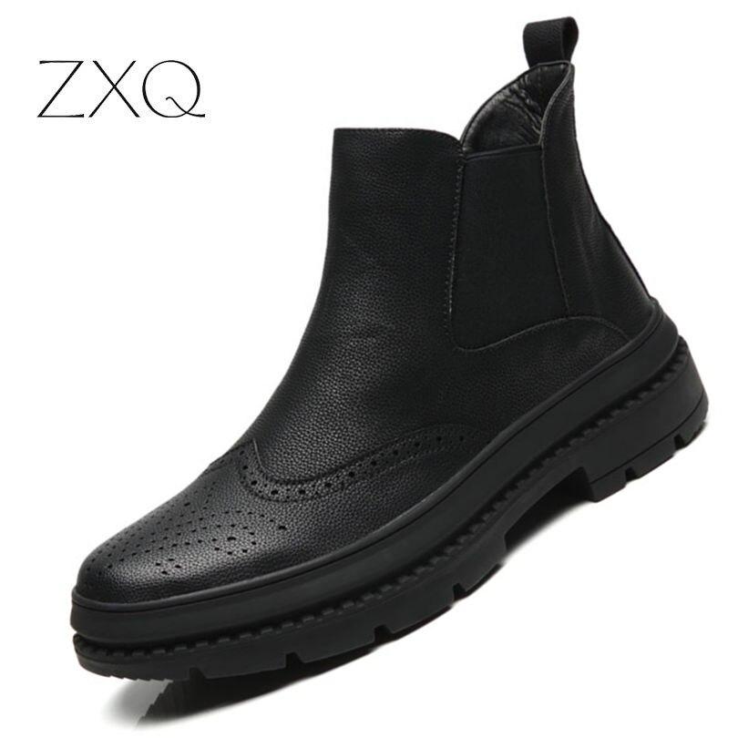 Goede Kopen Chelsea Laarzen Mannen Winter Schoenen Zwart