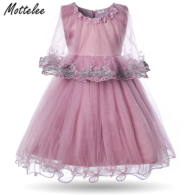 6d65791fb48f0 US $11.3 28% OFF|Mottelee Formal Baby Girls Dress Infant Birthday Party  Ball Gown for Princess Flower Newborn Banquet Dresses Fancy Toddler  Dress-in ...