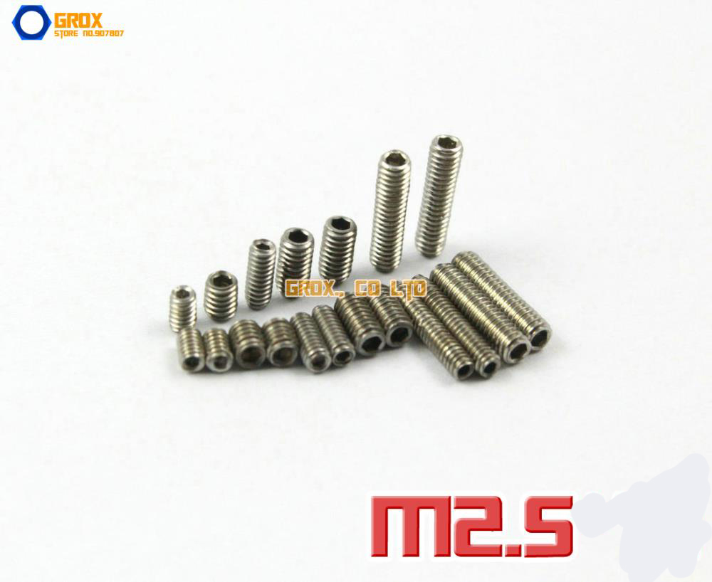 M2.5 304 Stainless Steel Grub Screws Cup Point Hex Socket Set Screw hex socket set screw with flat point 2pcs m14 30mm 304 stainless steel grub screws