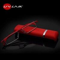 UVLAIK TR90 пожилых людей HD очки для чтения высокое качество Antifatigue Eyewears полукадра портативные очки с случае очки