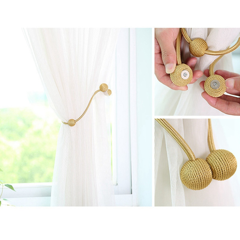 Magnetic Curtain Tieback Braided Spherical Chain Buckle Drapery Holdback Clip