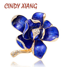 CINDY XIANG 2 Colors Enamel Flower Brooches For Women Summer Elegant Wedding Pins Suit Coat Brooch Rhinestone High Quality