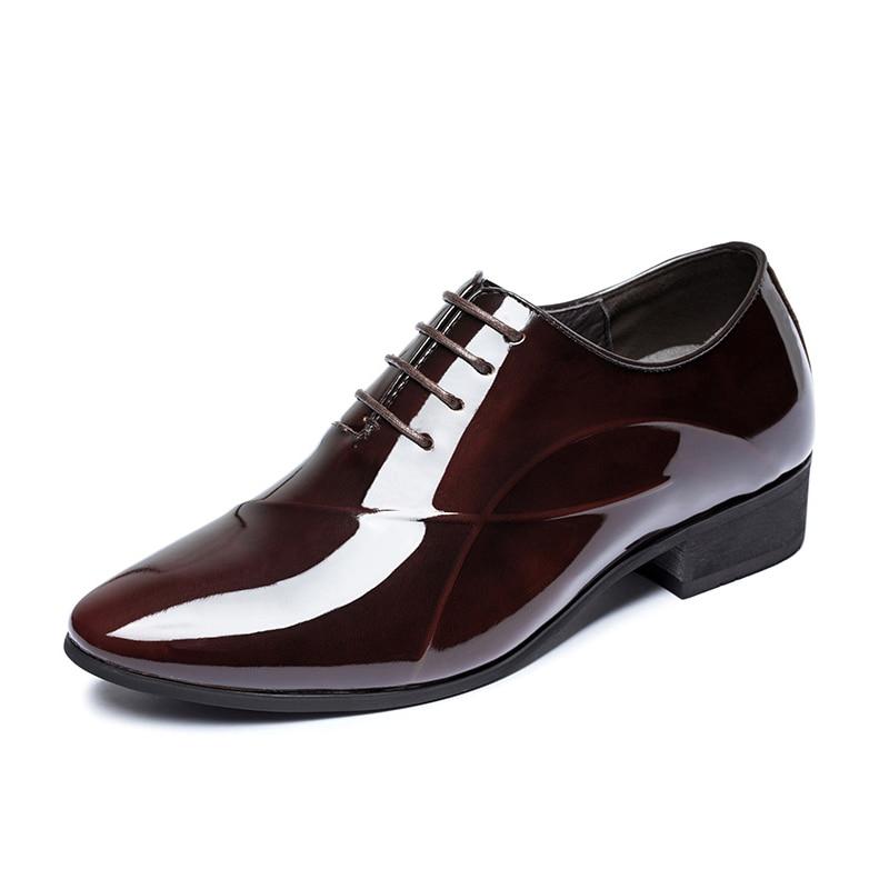 Ngouxm vin Homme En Dentelle up Plat Chaussures Automne Cuir Verni Rouge Noir Casual De Richelieus Respirant Printemps Hommes Pointu Bout Noir rr1Bq