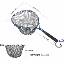 Goture Fly Fishing Landing Net Of Aluminum Alloy Frame,Soft Rubber Mesh,EVA Handle And Magnetic Clip Lanyard For Trout Fish
