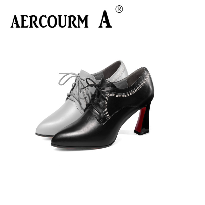 Aercourm A 2019 Women Autumn Genuine Leather Shoes Ladies Sewing Dress  Shoes Square Heel Women Platform Pumps Black Gray ShoesAercourm A 2019 Women Autumn Genuine Leather Shoes Ladies Sewing Dress  Shoes Square Heel Women Platform Pumps Black Gray Shoes