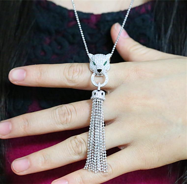 CZ AAA qualité mode chandail chaîne long collier léopard micro bijoux populaires
