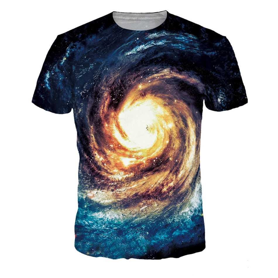 T-Shirt Kids Funny Girl Children Summer New Big Boy Space 3d Star Galaxy Colorful 12-20-Years-Old