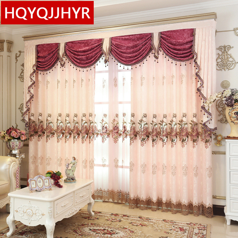 2016 European Style Luxury Embroidered Living Room Floor Curtain Villa Custom Bedroom Curtains 5 Star