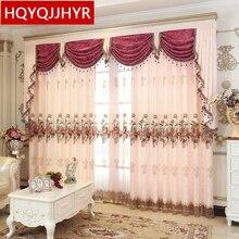 2019 European style luxury embroidered living room floor curtain luxury villa custom bedroom curtains 5 star hotel luxury drapes