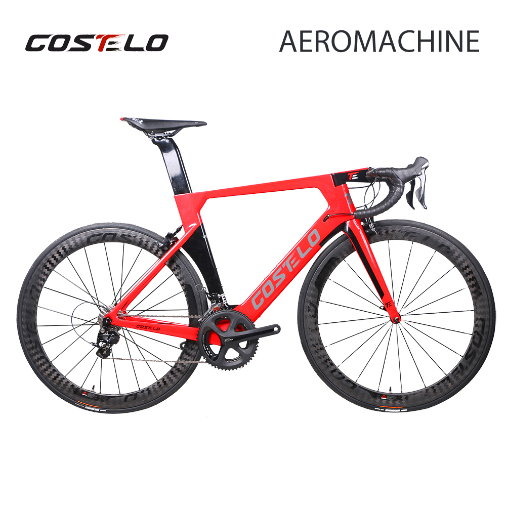 2018 Costelo AEROMACHINE MONOCOQUE one piece Carbon Road Complete Bike Road Bicycle Frame wheels R8000 Group callander high quality complete bike full carbon road bike complete t700 carbon frame 48mm carbon wheels handlebar seatpost