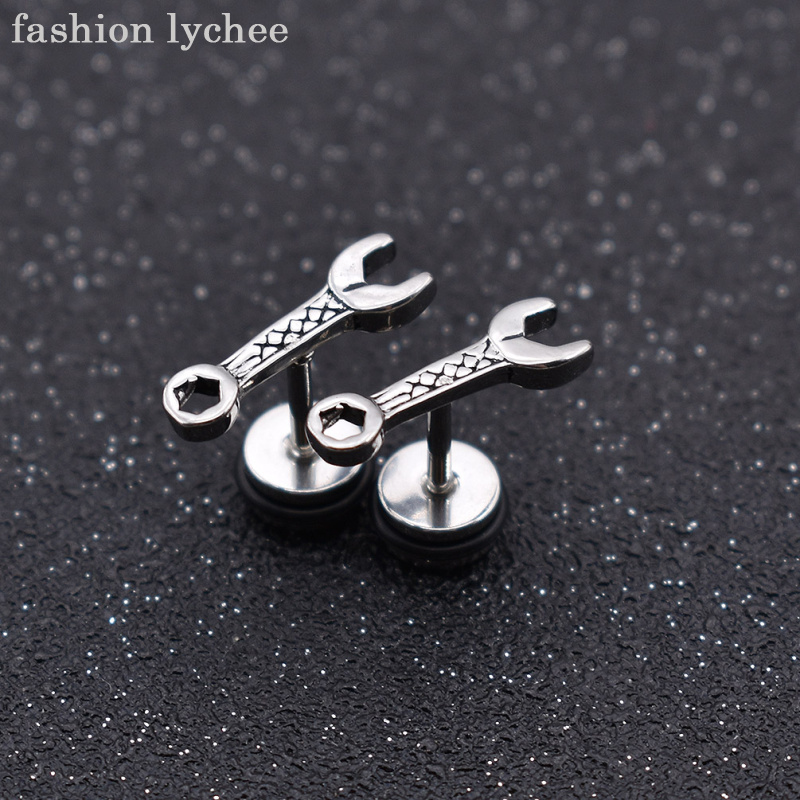 fashion lychee Creative Punk Stainless Steel Wrench Tool Stud Earrings Men Women Piercing Ear Jewelry Accessories