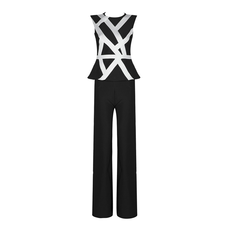 HIGH STREET New Fashion 2018 Designer Suit Set Women's Sleeveless Color Block Patchwork Tank Top Straight Bandage Pants Set