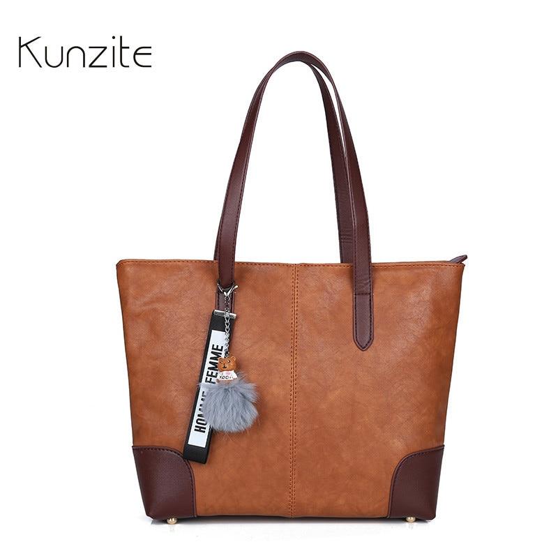 Kunzite Luxury High Quality PU Leather Handbag Women Shopping Tote Bag Luxury Designer Vintage Fashion Shoulder Bag with Pendant
