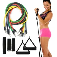 Strength Training Equipment 11 PCS Resistance Tubes Set Gym Fitness Exercise Workout Handles Yoga Bands SS
