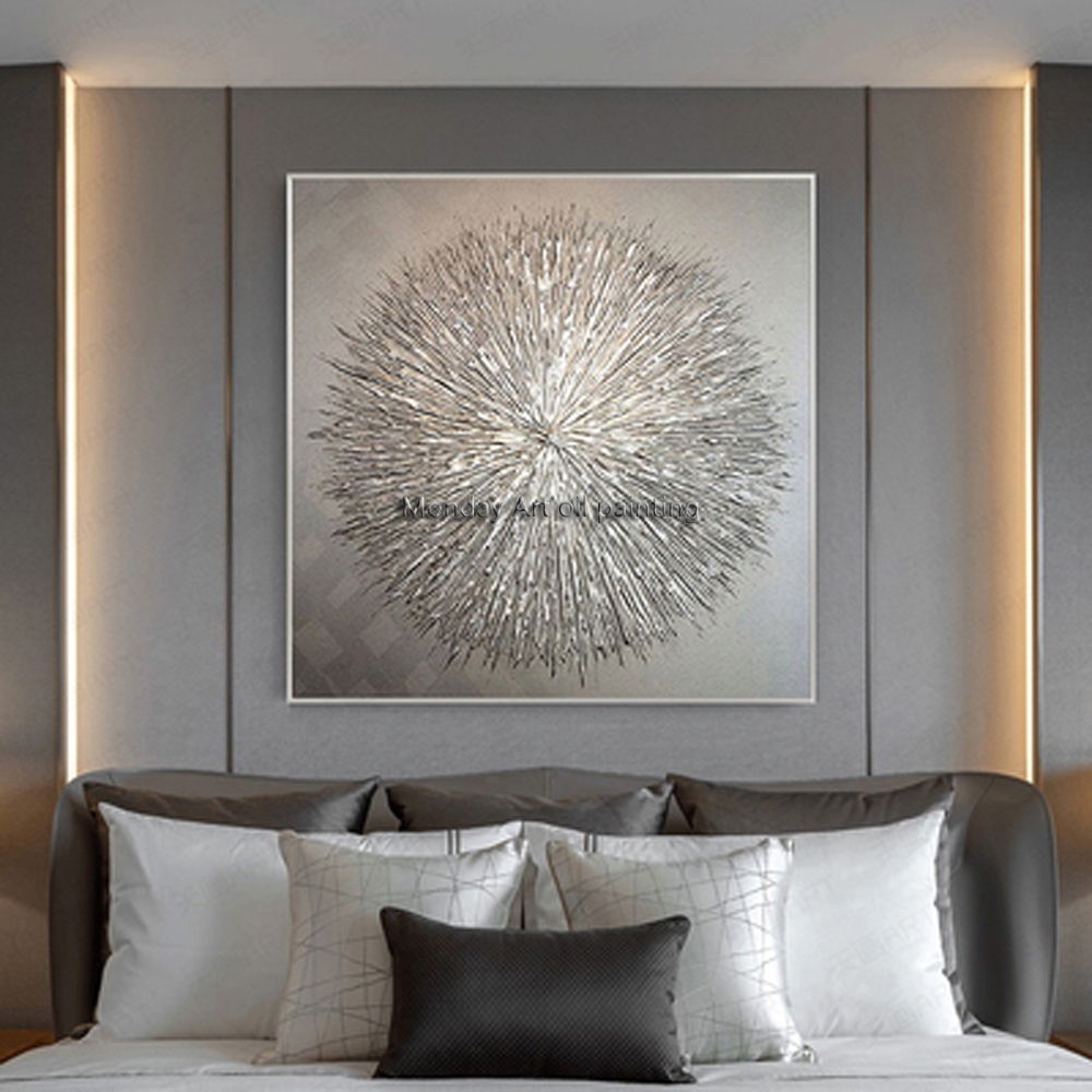 High Quality hand painted Silver Knife Thick Oil Painting canvas art picture Hand Abstract Grey gift