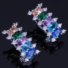 Heavenly Rectangle Multigem Multicolor Brown Cubic Zirconia 925 Sterling Silver Clip Hoop Huggie Earrings For Women V0913