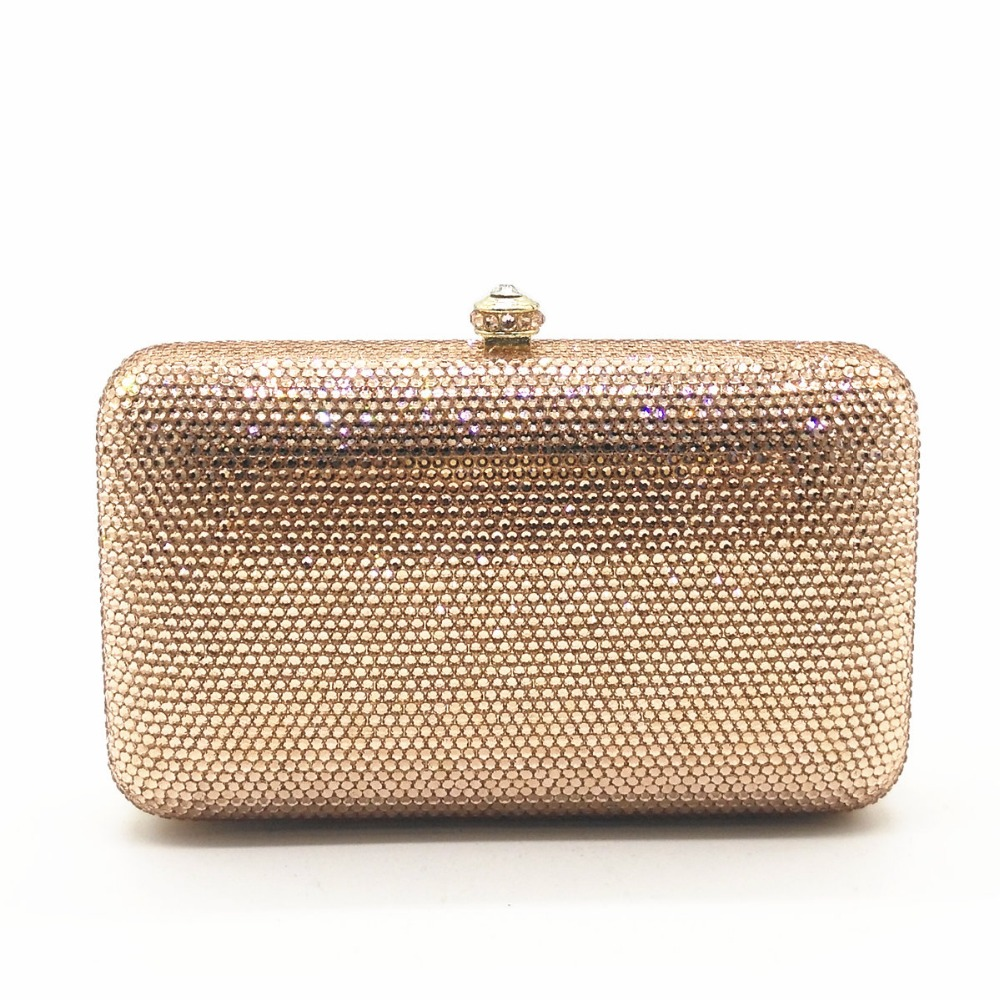 цена XIYUAN BRAND women plain crystal diamond evening bags for lady Christmas gift box bag champagne wedding clutch purse handbag bag