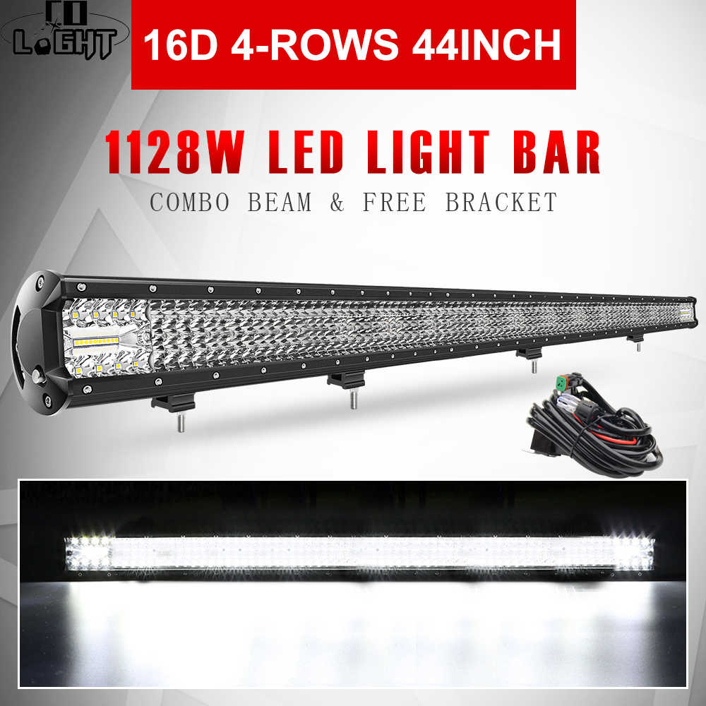 "CO LIGHT 16D LED Light Bar 44"" 1128W Combo Beam 4-Row Car Work Light Bars Driving Lamp 4x4 Offroad 4WD 12V 24V for Jeep Ford SUV"